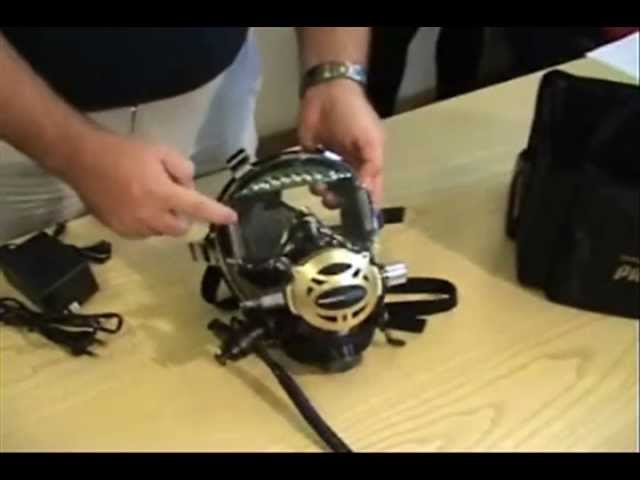 Ocean Reef: Neptune Space Full Face Diving Mask Shield Display and Visor Light Setup