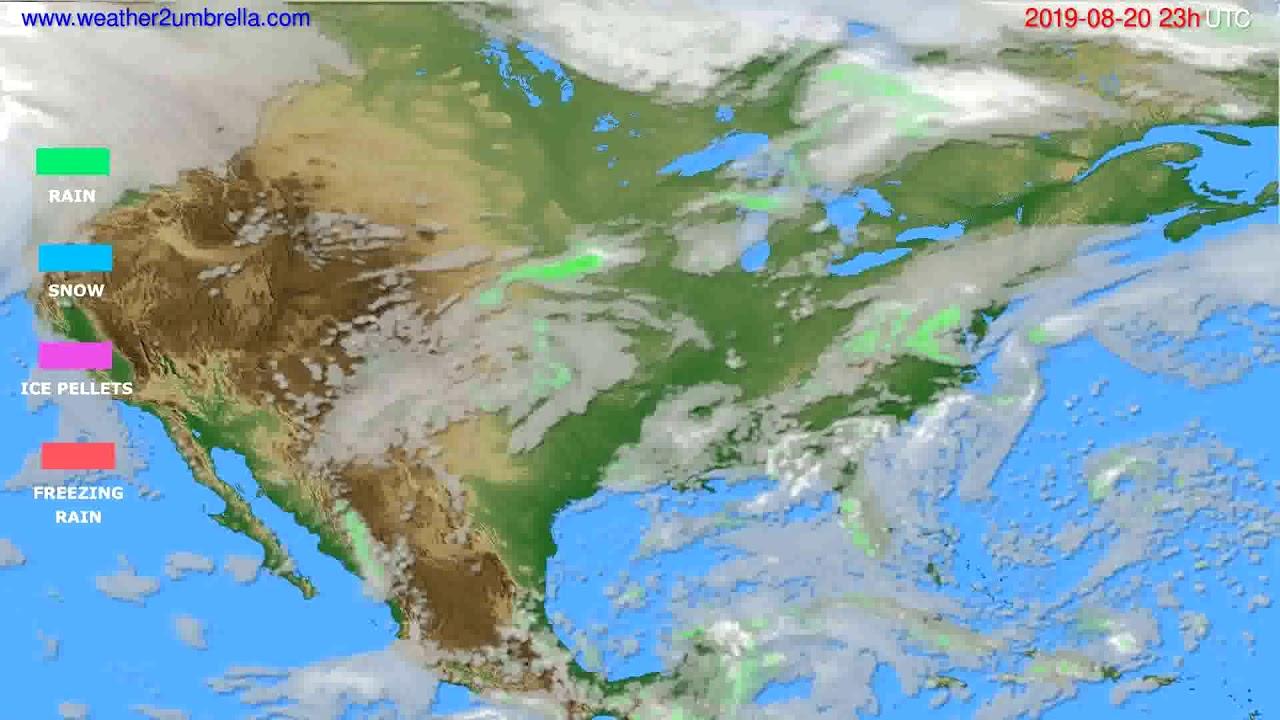 Precipitation forecast USA & Canada // modelrun: 12h UTC 2019-08-17