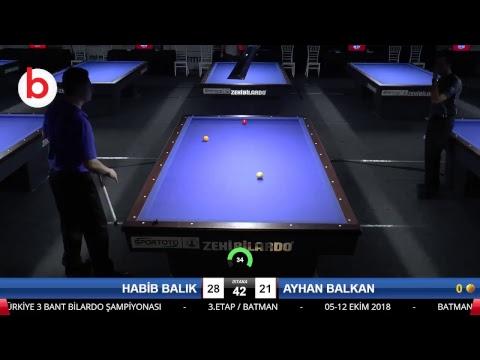 HABİB BALIK & AYHAN BALKAN Bilardo Maçı - 2018 ERKEKLER 3.ETAP-3.TUR