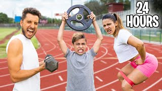 LAST TO STOP WORKING OUT WINS PRIZE!! (24 Hour Challenge) | The Royalty Family