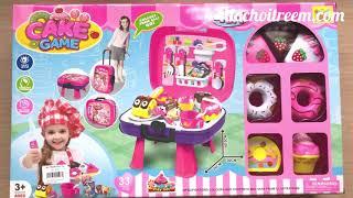 Đồ chơi nấu ăn bé gái 3 trong 1, bếp, vali, túi xách 30 món, bánh - Kitchen toys (Chim Xinh)