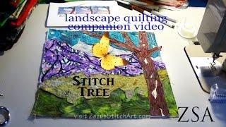 Free-Motion Quilt Tree | Landscape Quilting Companion Video | Fiber Art By Zazu