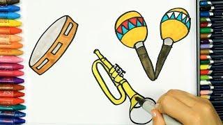 Рисуем Музыкальные инструменты.
