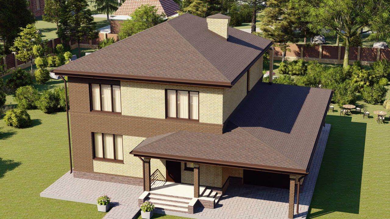 Проект большого двухэтажного дома с гаражом на 1 авто 184 м2