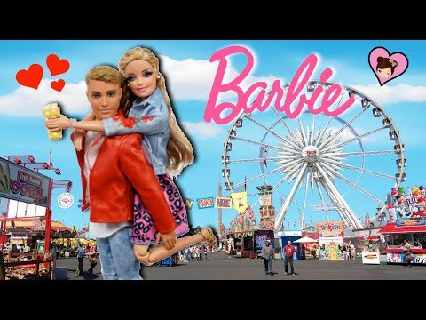 Barbie Doll & Ken Have a Date at The Fair - Carnival Ride &  Face Painting!