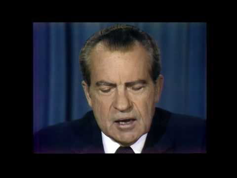 The video of President Richard Nixon announcing his resignation. August 8.