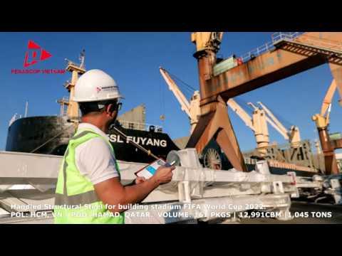 Penascop VN xếp dỡ kết cấu thép xây dựng sân vận động World Cup 2022 tại cảng Lotus