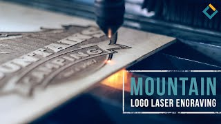 Mountain logo laser engraving