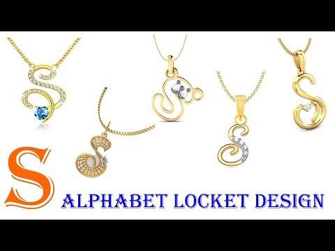 S Alphabet Letter Gold Pendant Locket Design