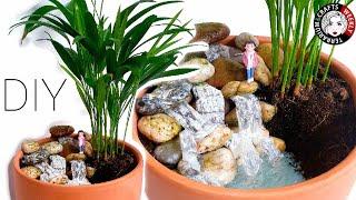 🔴DIY Miniature Fairy Garden Terrarium Ideas, Hot Glue Water & Waterfall, Mini Landscape Diorama