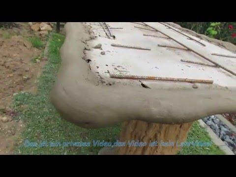 Gartengestaltung , Gartentisch aus Beton selber bauen