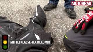 Lederkombis gegen Textilkombis im MOTORRAD-Crashtest