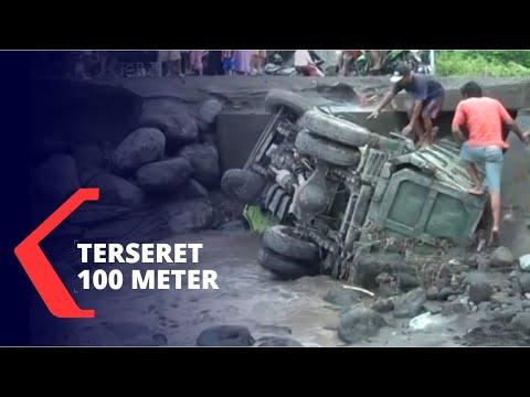 Truk Terguling Kena Banjir Lahar Gunung Semeru, Terseret 100 Meter