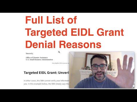 Full List of Targeted EIDL Grant Denial Reasons | EIDL Loan Increase Calculation
