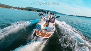 Wakesurfing at Smith Mountain Lake - FPV Drone Video