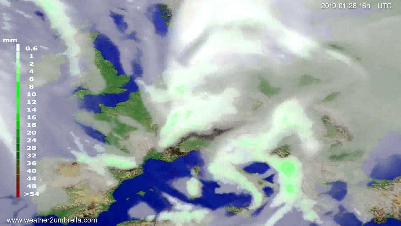 Precipitation forecast Europe 2019-01-25