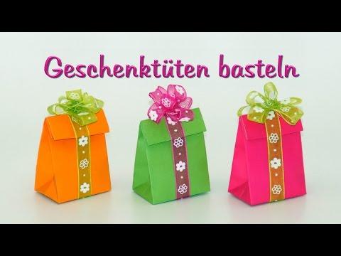basteln mit Papier: Papiertüten / Geschenktüten falten, DIY