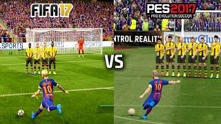 FIFA 17 vs PES 17 - FREE KICKS (featuring Messi, Ronaldo, Ibrahimovic, Calhanoglu)