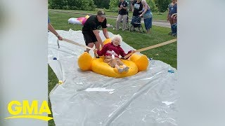 Senior citizens slip and slide into the summer in viral video  | GMA Digital
