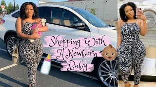 😱OMG! First Day Shopping With A Newborn Baby 👶🏽 | Day In The Life | First Time Mom + Baby Routine