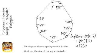 Polygons: Interior Angle In Irregular Polygon (Grade 3) - OnMaths GCSE Maths Revision