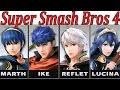 Marth Vs. Lucina Vs. Ike Vs. Robin - Super Smash Bros. 4 (3DS/WII U) + Roy