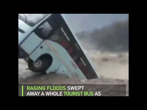 Raging flood sweeps away a whole tourist bus in India