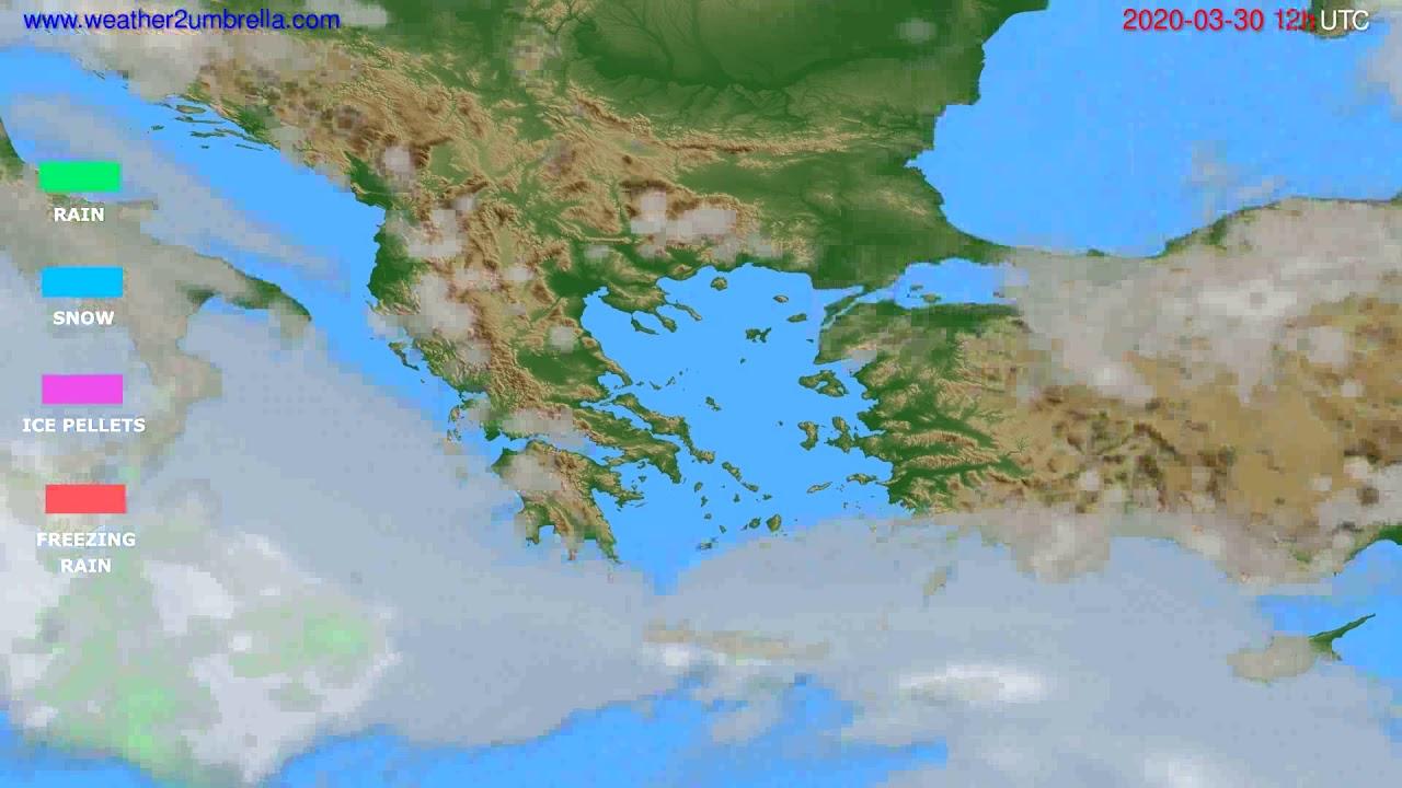 Precipitation forecast Greece // modelrun: 00h UTC 2020-03-30