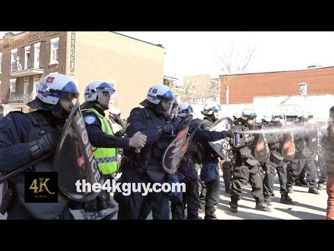 Montreal: Students clash with riot police 4/2/2015 / Manif nationale 2 avril 2015