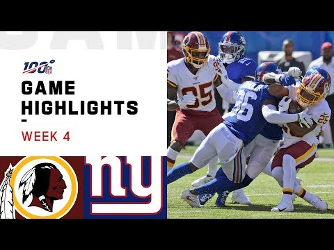 Redskins vs. Giants Week 4 Highlights | NFL 2019
