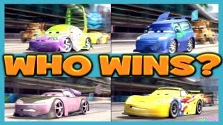 Cars 2 The Game JEFF GORVETTE vs WINGO vs BOOST vs DJ 4 Player Race By Disney Cars Toy Club