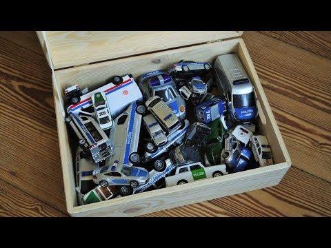 Polizei Spielzeugauto Kiste - Box full of Police Cars