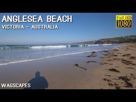 Beach view of Anglesea surf and sand
