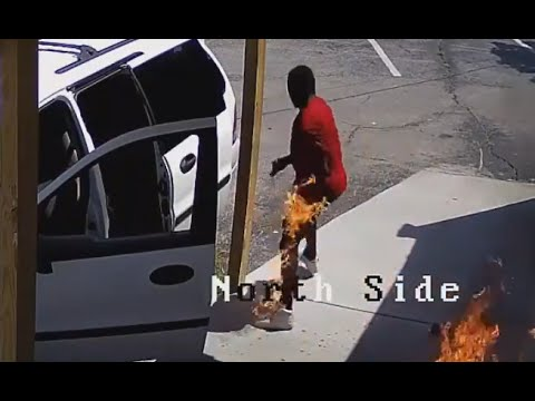 Arsonist Accidentally Lights Himself On Fire [CAUGHT ON TAPE]