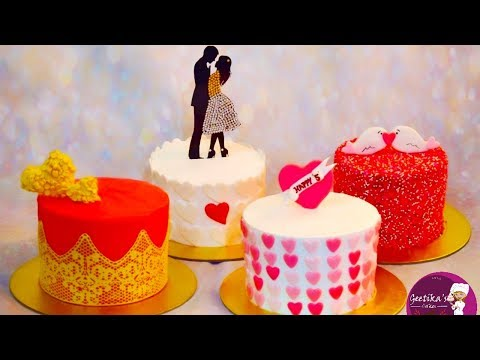 ❤ Anniversary and Valentine's Day Cake Decoration | Simple Easy Cake Decoration