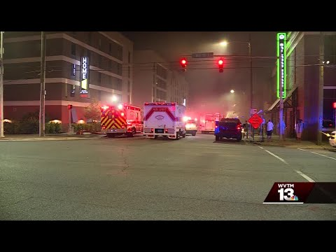 Fire at downtown business sends Birmingham firefighter to the hospital