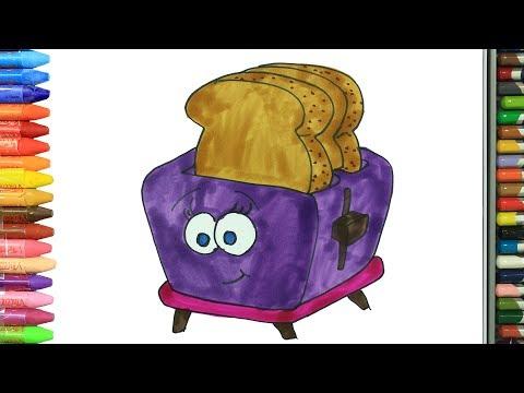 Wie zeichnet man Toaster | Ausmalen Kinder | Kindervideos | Malen und Zeichnen für Kinder