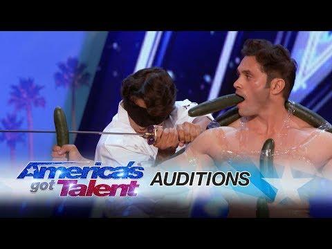 Vispi & Team India: Dangerous Blindfolded Sword Chopping Scares Judges - America's Got Talent 2017