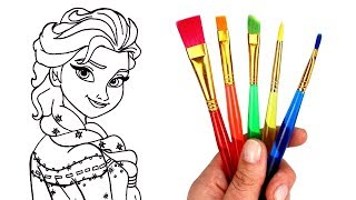 How to Draw Elsa | Glitter Paint Drawing & Coloring for Kids