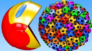 Learn Colors with PACMAN and Surprise Soccer ball Iron Man Farm Watermelon for Kid