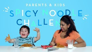 Parents & Kids Try the Spicy Noodle Challenge | Kids Try | HiHo Kids