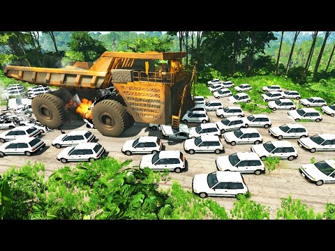 BeamNG.DRIVE - GIANT TRUCK vs 60 COVETS