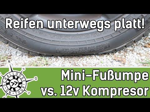 Unterwegs Reifen aufpumpen || Mini Fußpumpe vs. 12v Kompressor ||SCHALLDOSE ON TOUR