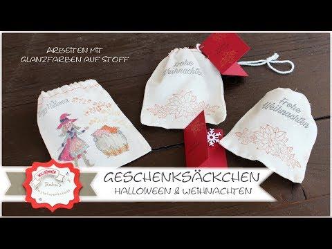 Geschenksäckchen Weihnachten - Halloween  - Adventskalender - Glanzfarben auf Stoff - Stampin´Up!
