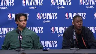 D'Angelo Russell & Caris LeVert Postgame Interview | Nets vs 76ers Game 1