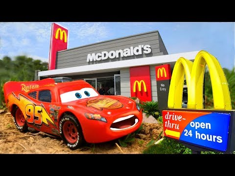McDonald's Drive Thru Prank Disney Pixar Cars Lightning McQueen, Mater, Mack, Funny Kids Toys Movie!