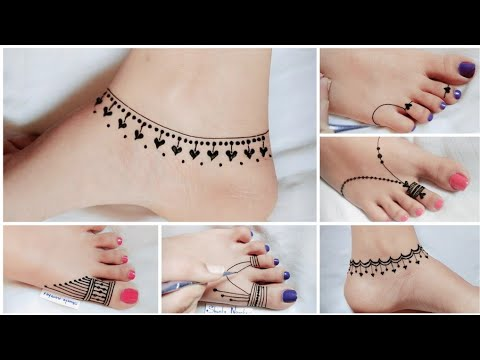 simple and easy leg mehndi design by creative heart