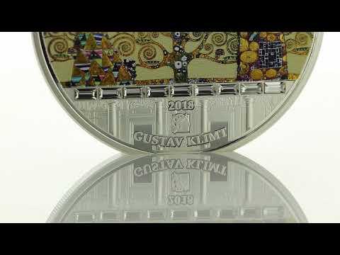 Silber-Gedenkmünze ''Gustav Klimt - Lebensbaum'' veredelt mit 18 Swarovski®-Kristallen