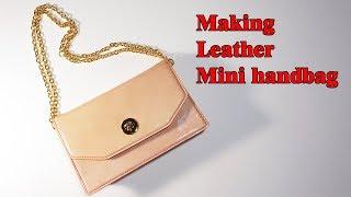 25 [LeatherCraft] Making Mini Handbag Ver3 / [가죽공예] 가죽 미니 핸드백 만들기 Ver3 / Free Pattern