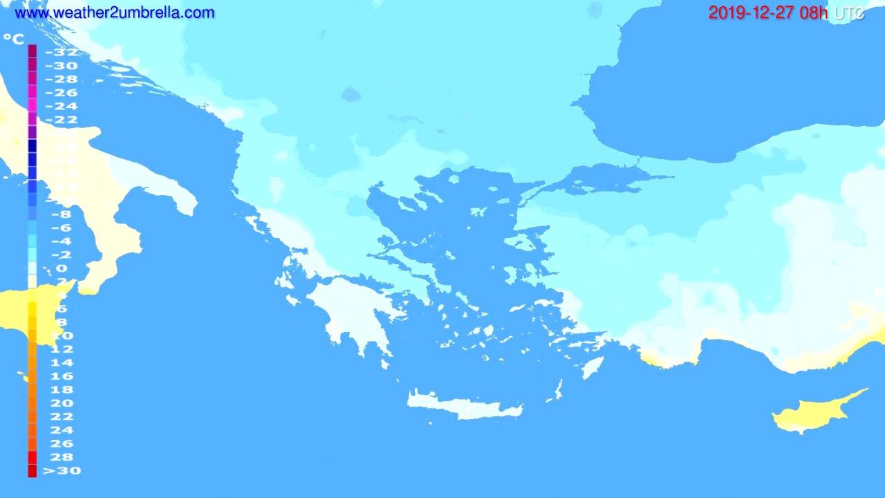 Temperature forecast Greece // modelrun: 12h UTC 2019-12-26